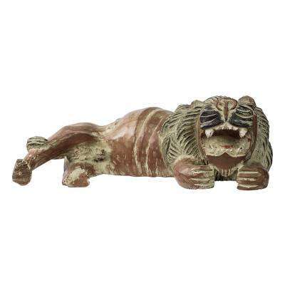 Rustic Sese Wood Sculpture of a Lion from Ghana