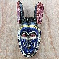 African wood mask, 'Bolatito' - Blue and Red Sese Wood African Mask from Ghana