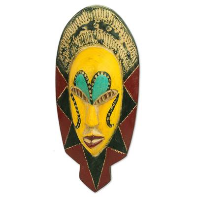 African wood mask, 'Loving Thandi' - Colorful Sese Wood African Mask from Ghana
