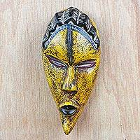 African wood mask, 'Prosperous Ayoola' - Yellow Sese Wood African Mask from Ghana