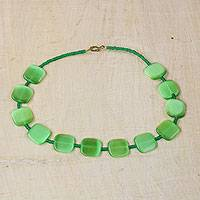 Recycled glass beaded necklace, 'Love For Green' - Green Recycled Glass Beaded Necklace Crafted in Ghana