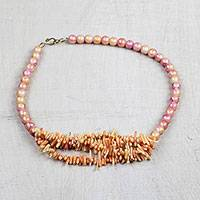 Recycled glass beaded necklace, 'Timeless Sheen' - Recycled Glass Beaded Necklace in Orange Hues from Ghana