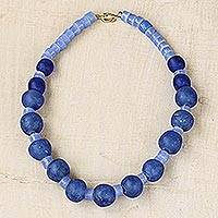 Recycled glass beaded necklace, 'Big Dreams' - Recycled Glass Beaded Necklace in Blue from Ghana