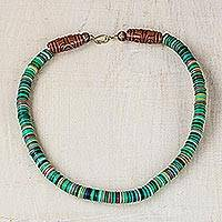 Recycled plastic beaded necklace, 'Partner' - Green-Tone Recycled Plastic Beaded Necklace from Ghana