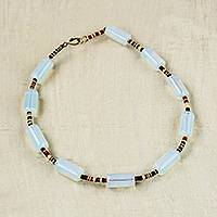Recycled glass and plastic beaded necklace, 'Walk With Me' - Recycled Glass and Plastic Beaded Necklace from Ghana