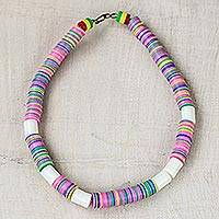 Recycled glass and plastic beaded necklace, 'Colorful Love' - Colorful Recycled Plastic Beaded Necklace from Ghana