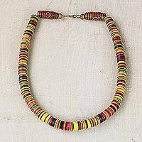 Recycled plastic beaded necklace, 'Earthy Elegance' - Earth-Tone Recycled Plastic Beaded Necklace from Ghana