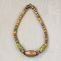 Recycled glass and wood beaded pendant necklace, 'Friendly Air' - Recycled Glass and Wood Beaded Pendant Necklace from Ghana