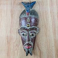 African wood mask, 'Sulley Friend' - Bird-Themed African Sese Wood Mask in Burgundy from Ghana