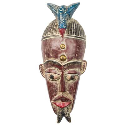 Bird-Themed African Sese Wood Mask in Burgundy from Ghana