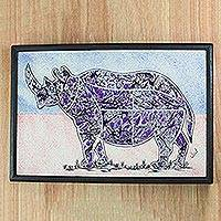 Cotton batik wall art, 'Rhino at Dusk' - Purple Batik Look Fabric Collage Rhino Wall Art