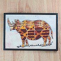 Batik cotton wall art, 'Golden Rhino' - Golden Brown Batik Fabric Collage Rhino Wall Art