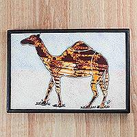 Cotton batik wall art, 'Desert Sun Camel' - Golden Brown Batik Look Fabric Collage Camel Wall Art