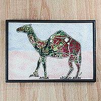 Cotton batik wall art, 'Camel Trek' - Multi-Color Batik Look Fabric Collage Camel Wall Art