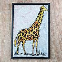 Cotton batik wall art, 'Golden Giraffe' - Batik Look Fabric Collage Golden Yellow Giraffe Wall Art