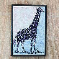 Batik cotton wall art, 'Giraffe at Dusk' - Multi-Color Batik Fabric Collage Giraffe Wall Art