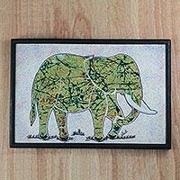 Cotton batik wall art, 'Elephant on the Plain' - Multi-Color Batik Look Fabric Collage Elephant Wall Art