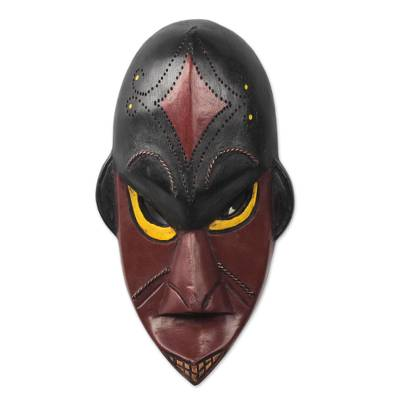 Red and Black African Sese Wood Monkey Mask from Ghana