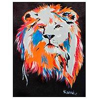 'Lion' - Signed Modern Painting of a Lion from Ghana