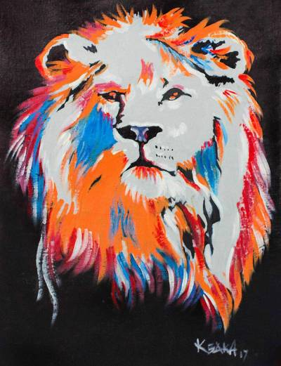Signed Modern Painting of a Lion from Ghana