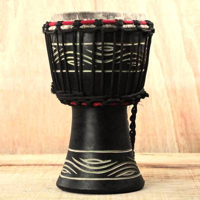 Wood djembe drum, 'Musical Eyes' - Wood Djembe Drum with Eye Motifs from Ghana