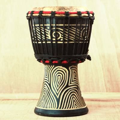 Wood Mini Djembe Drum with Line Motifs from Ghana, 'Contours of Music'