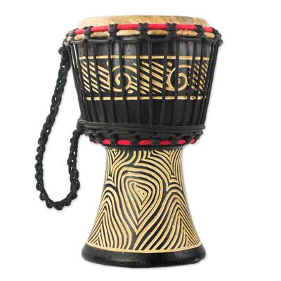 Wood Mini Djembe Drum with Line Motifs from Ghana