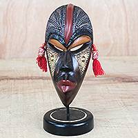 African wood mask, 'Striking Beauty' - Handmade African Sese Wood Tabletop Mask from Ghana
