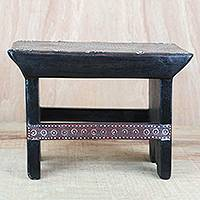 Wood decorative stool, 'Kotoku Zikpui' - Cedar Wood and Cotton Decorative Stool from Ghana