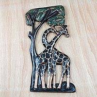 Wood relief panel, 'The Couple' - Giraffe-Themed Sese Wood Relief Panel from Ghana