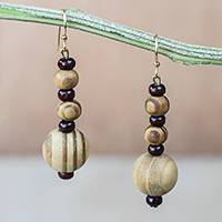 Wood and recycled plastic beaded dangle earrings, 'Beautiful Grain' - Wood and Recycled Plastic Dangle Earrings from Ghana