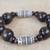 Wood and recycled plastic beaded stretch bracelet, 'Exornam' - Sese Wood and Plastic Beaded Stretch Bracelet from Ghana (image 2b) thumbail