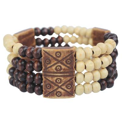 Wood and recycled plastic beaded stretch bracelet, 'Newfound Love' - Wood and Recycled Plastic Beaded Stretch Bracelet from Ghana