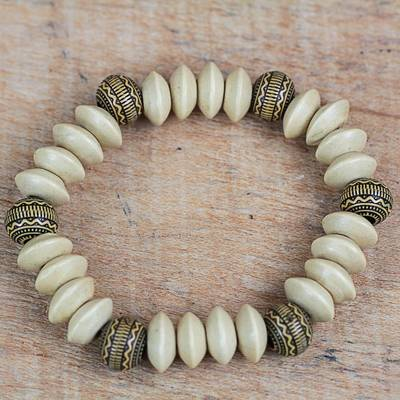 Wood and recycled plastic beaded stretch bracelet, 'African Innocence' - Wood and Recycled Plastic Beaded Bracelet from Ghana