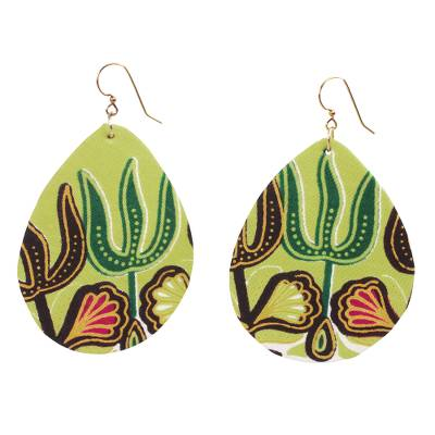 Cotton dangle earrings, 'Yellow Akoma Pa' - Cotton Dangle Earrings in Yellow from Ghana