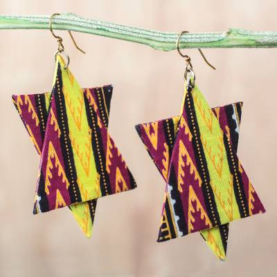 Cotton dangle earrings, African Stars