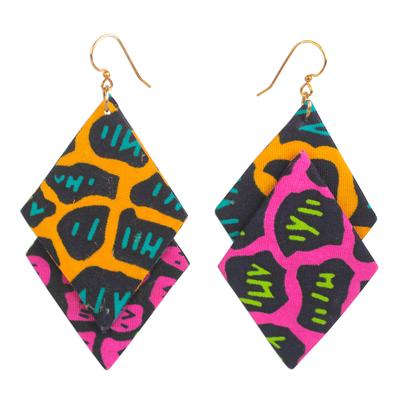 Diamond-Shaped Cotton Dangle Earrings from Ghana