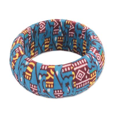Multicolored Cotton Bangle Bracelet from Ghana