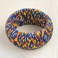 Cotton bangle bracelet, 'Colorful Awura' - Colorful Cotton Bangle Bracelet Crafted in Ghana