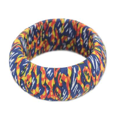 Colorful Cotton Bangle Bracelet Crafted in Ghana
