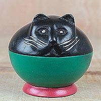 Wood decorative jar, 'Playful Kitten' - Black and Green Cat Wood Decorative Jar from Ghana
