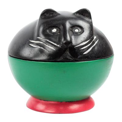 Wood decorative jar, 'Playful Kitten' - Black and Green Cat Wood Decorative Jar from Ghana