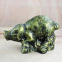 Ceramic sculpture, 'Crouching Pig' - Ceramic Sculpture of a Yellow Pig from Ghana