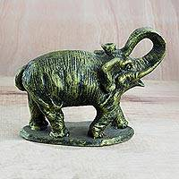 Ceramic sculpture, 'Striking Elephant' - Ceramic Sculpture of an Elephant in Yellow from Ghana
