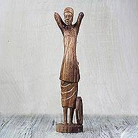 Teakwood statuette, 'Kaya Yee Woman' - Teakwood Statuette of a Woman from Ghana