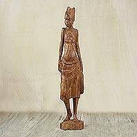 Teak wood sculpture, 'Market Woman' - Handmade Teak Wood Sculptur of a Woman from Ghana