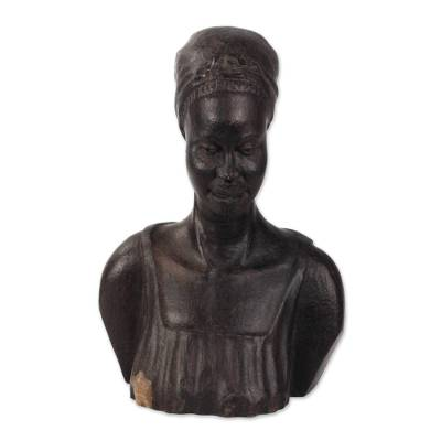 Ebony wood sculpture, 'Bust of a Ghanaian Woman' - Hand-Carved Ebony Wood Sculpture of a Ghanaian Woman