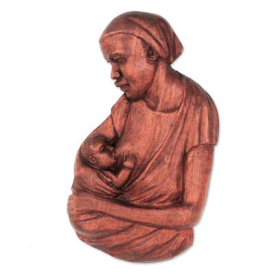 Teakwood relief panel, 'Breastfeeding I' - Teakwood Mother and Child Relief Panel from Ghana