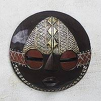 African wood mask, 'Elikem Child' - Round African Sese Wood Mask in Brown from Ghana