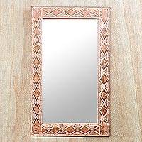 Brass and wood mirror, 'Pink Diamonds'